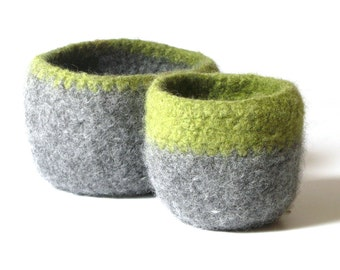 WOOLY FELTED BOWLS - two felted nesting bowls - lime and smoke grey 4*