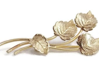 Vintage Premco 1/20 12K Gold Filled Four Leafs Brooch Pin Nature Outdoors Mothers