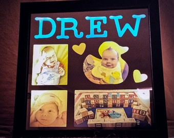Perfect for a new Mother - Shadow box frame with backlit photos. Unique way to display your memories!