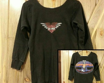 1993 Swoop Neck Harley Davidson shirt!