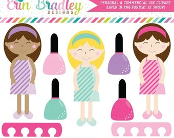 80% OFF SALE Spa Day Girls Clipart, Spa Clip Art Graphics, Girls Clip Art, Nail Polish Clipart Graphics