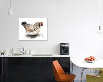 Hen print // hen art print // chicken print // chicken decor // chicken art // chicken lover gift // chicken gifts // country kitchen decor