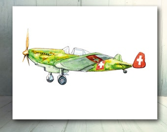 Vintage airplane decor Military airplane Boys nursery wall art Austrian K+W Prop driven aircraft print Transportation art Gift for pilot