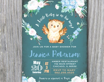 Blue Baby Shower Woodland Creatures owl roses flowers turquoise watercolor chalkboard vintage baby girl boy pink green printable #37