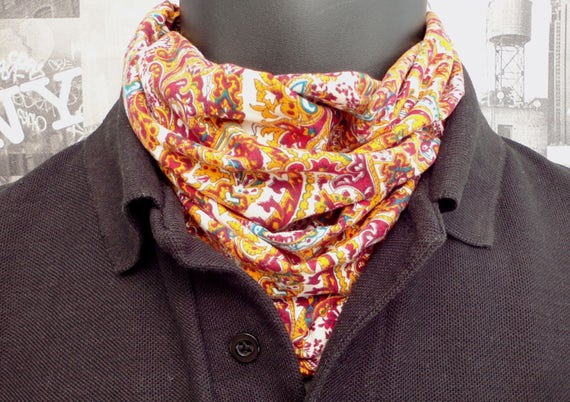 Neck Tube, Snood, Paisley print in shades of rust and gold