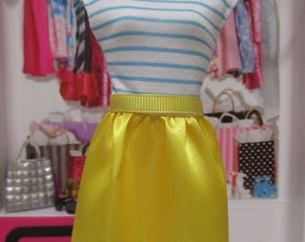 Barbie Doll Clothing yellow & blue striped dress