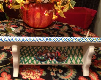 """Hand Painted Bohemian Wood White, Green & Blue Display Shelf For Home    18""""Wx6""""Hx4.5""""D W0077"""