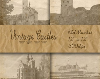 Vintage Castles Digital Papers - Castle Pictures -  Castle Backgrounds - 16 Designs - 12in x 12in - Commercial Use - INSTANT DOWNLOAD
