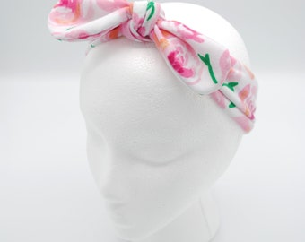 Floral Top knot baby headband, hair tie, head-wrap, one size fits all, baby bow, baby shower gift, adjustable size, Mommy & Me Set