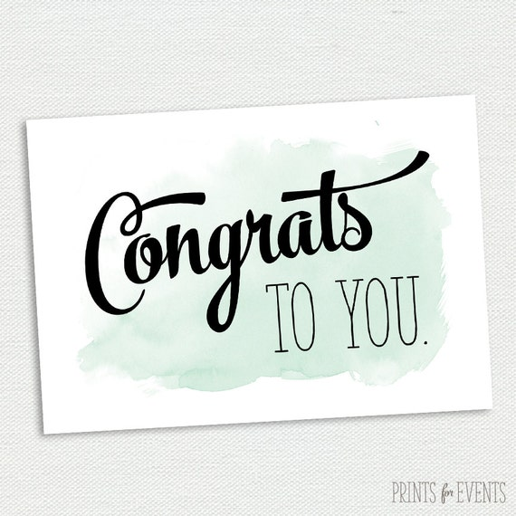 Printable Congratulations Card Graduation Card Mint and