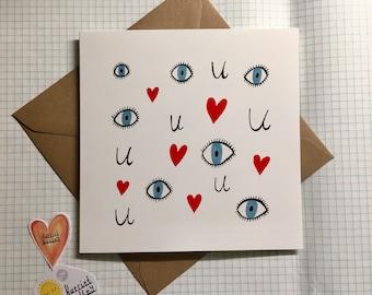 Eye Heart U I Love You Love Cute Romance Valentines Greetings Card