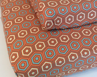 Orange and Aqua Crib Sheet and Changing Pad Cover