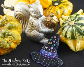 TSK02P Moon/Stars Witch Hat Hand Embroidered Ornament/Brooch Digital Pattern