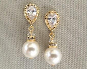 bridal Pearl rhinestone earrings, bridal earrings, wedding rhinestone Earrings, Bridal stud Earrings, ivory swarovski pearl earrings, AUDREY