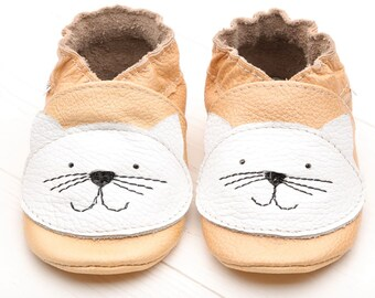 Baby shoes Leather baby shoes, Soft sole kids shoes, Boys, Baby moccasins leather, Girls, Infant baby shoes, Baby booties, Beige, White cat