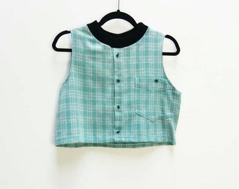 Plaid Crop Top Vintage Button Up Crop Top Turquoise Checkered Cropped Blouse Vintage Blue Turquoise Plaid Pattern Cropped Shirt Women's Top