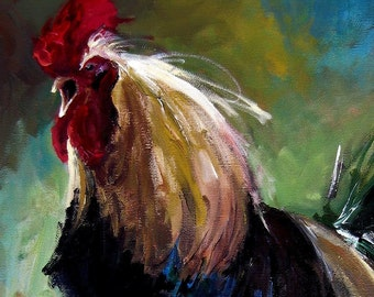 Rooster Painting - Daybreak Rooster - Print of Original Painting by Cari Humphry