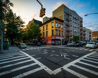 Intersection of Driggs Avenue and Fourth Street in Williamsburg, Brooklyn, New York. Photo Print, Metal, Canvas, Framed.