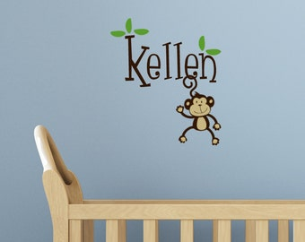 Monkey name Monogram Vinyl Wall Decal Words, Kids Monkey decor, Custom decals, Personalized gifts, baby Nursery jungle art