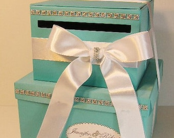 Wedding Card Box 2 tier Blue Gift Card Box Money Box Holder-Customize your color