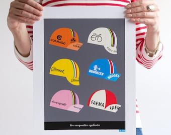 Tour de France Art, Six Classic Cycling Caps Print,