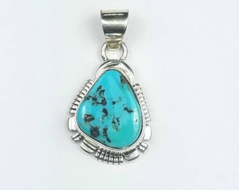 Native American Navajo handmade Sterling Silver Sleeping Beauty Turquoise stone pendant