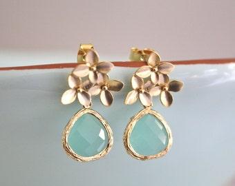 Gold Earrings, Aqua Blue Cherry Blossom Stud Earrings, Aqua Wedding, Bridesmaid Earrings, Bridesmaid Gifts, Floral Earrings Gold Flower Mint