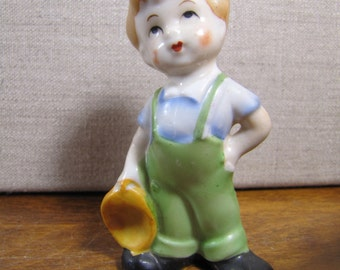 Small Vintage Figurine - Boy In Green Overalls - Made in Japan
