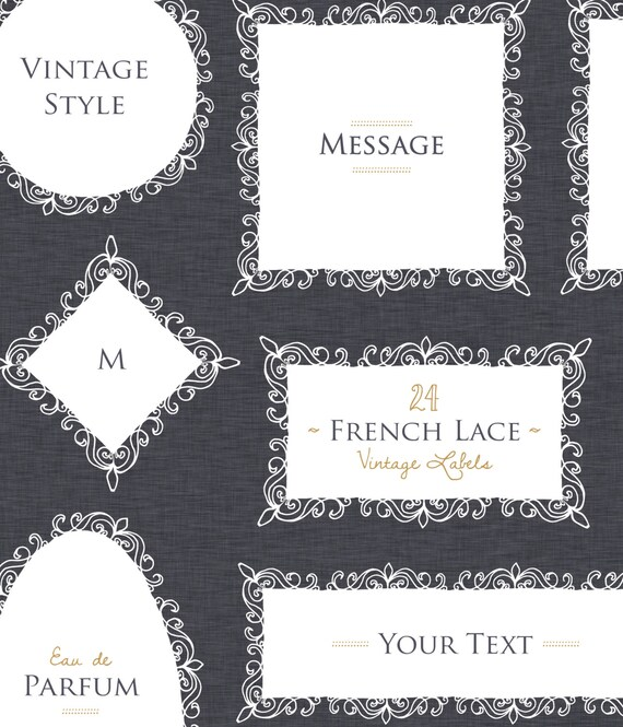 CLIP ART French Lace Vintage Labels Design Elements Frame