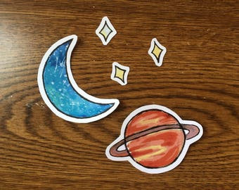 Space Theme Vinyl Stickers Set, Space Laptop Stickers