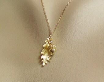 Gold Acorn Necklace, Gold Oak Leaf Necklace, Acorn and Oak Leaf Necklace, Leaf Necklace, Nut Necklace, Good Luck Necklace,Gold Leaf Necklace