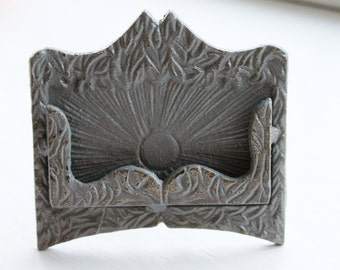 Business Card Holder -Wedding -Place Card Holder - Rustic Cast Iron -New Office-New York Inspired -In Modern Grey- Metal Decor -Winter