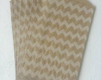 "25 Flat Kraft Chevron Paper Bags-5""X7.5"""