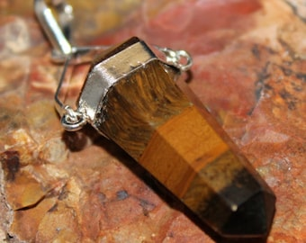 Tigers Eye Double Terminated Point Pendant P3B
