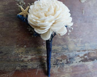 Ocean Song Sola Flower Boutonniere// Wood Flower Boutonierre