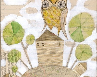 home art  print - Yellow owl - archival - limited edition - HOME by cori dantini
