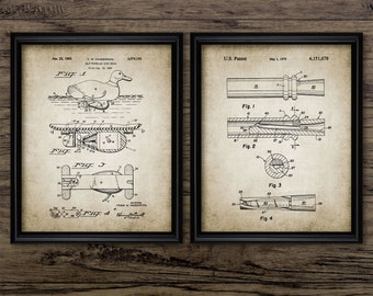 Vintage Duck Hunting Patent Print Set Of 2 Prints - Duck Caller - Duck Decoy - Hunting Equipment - Set Of Two Prints #643 - INSTANT DOWNLOAD