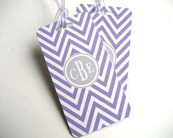 Luggage Tag Pair - Lavender and White Chevron Custom Monogram Luggage Tag - Personalized Gift for Her - Travel Tag - Your Monogram
