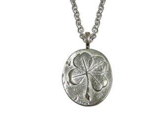 Oval Four Leaf Clover Pendant Necklace