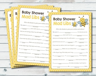 Mad Libs Baby Shower Printable Game, Bumble Bee Mad Lib, Baby Shower Advice Cards Mad Libs Game, Bee Baby Shower Games, Neutral Gender