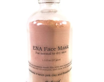 ENA Face Mask, Clay mask, French Pink Clay, Rosehip Face Mask, Face Mask for normal to dry skin
