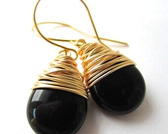 Black Earrings Wire Wrapped Earrings Czech Glass Jewelry Dangle Black Tear Drop Earrings Wire Wrapped Jewelry Handmade