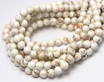 "Two 15.5"" strands, White Magnesite  Beads 6mm"