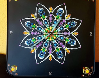 New Mandala wall clock with Swarovski elements and bling-bling.Only for the picture  I removed the top crystal for better photo#30x30cm