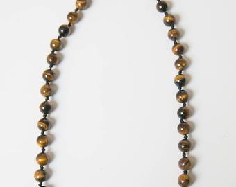 Tiger Eye Necklace, Tiger Eye Gemstone Necklace, Tigers eye jewelry, 17 inch Necklace