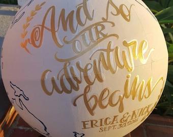 And So Our Adventure Begins, Custom Guest Globe, World Globe, Wedding Globe, Alternative Guest Book