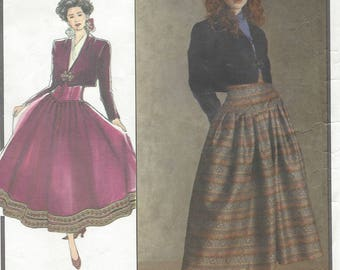 1980s Womens Lined Bolero Jacket and High Waisted Ankle Length Skirt Style Sewing Pattern 1616 Size 12 Bust 34 UnCut Vintage Sewing Patterns