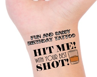 Hit Me With Your Best Shot Party Tattoo, BIRTHDAY PARTY FAVORS, Temporary Tattoo, Birthday Tattoo, Tattoo Favor, Birthday Girl, Birthday Boy
