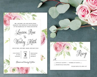 Watercolor Floral Wedding Invitation, Romantic Wedding Invitation, Blush Flowers Wedding Invitation