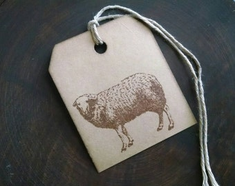 """Ewe are beautiful, sheep stamp gift tags, primitive, rustic, hand stamped gift tags, sized 2 1/2"""" x 2 1/8"""", set of 12."""